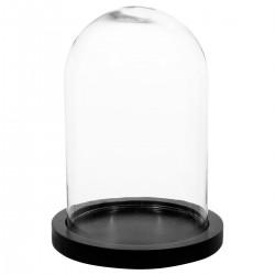 Cloche en verre sur socle en bois H26cm