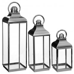 Lot de 3 lanternes d'extérieur en inox CONTEMP' HOME - Argenté