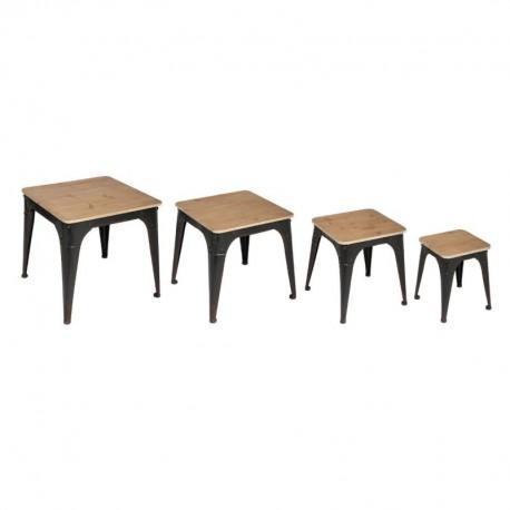 Lot de 4 tables à café TOROF, BOHEMIAN DREAM - Noir