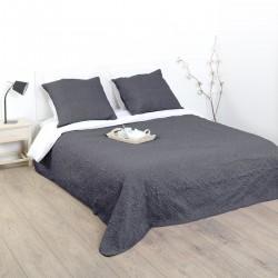 Dessus de lit arabesque et 2 taies d'oreiller - Gris foncé