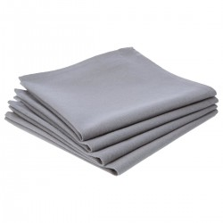 Lot de 4 serviettes de table en coton - Gris clair