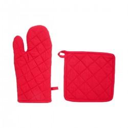 Gant et manique matelassés en coton - Rouge
