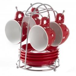 4 Tasses à pois sur rack - Rouge