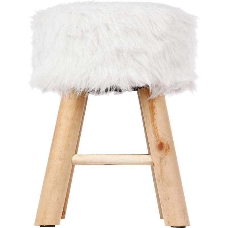 tabouret fourrure instant nature blanc veo shop. Black Bedroom Furniture Sets. Home Design Ideas