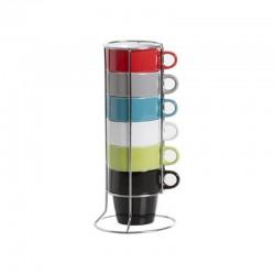 6 Mugs sur rack - Multicolore