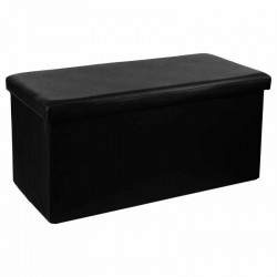Pouf long pliable en simili-cuir - Noir