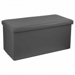 Pouf long pliable en simili-cuir - Gris