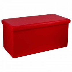 Pouf long pliable en simili-cuir - Rouge