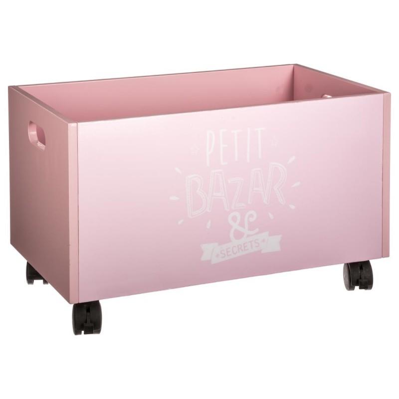 coffre jouets roulettes rose veo shop. Black Bedroom Furniture Sets. Home Design Ideas