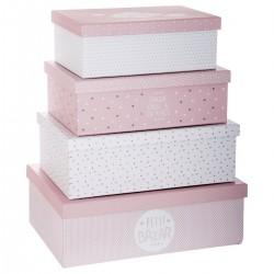 Lot de 4 boîtes de rangement DOUCEUR - Rose