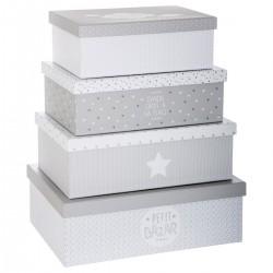 Lot de 4 boîtes de rangement DOUCEUR - Gris