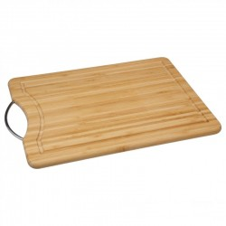 Planche à découper en bambou avec anse en acier