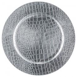 Assiette plastique effet craquelé - Argenté