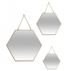 Lot de 3 miroirs hexagones en métal ESSENTIAL MOOD - Doré