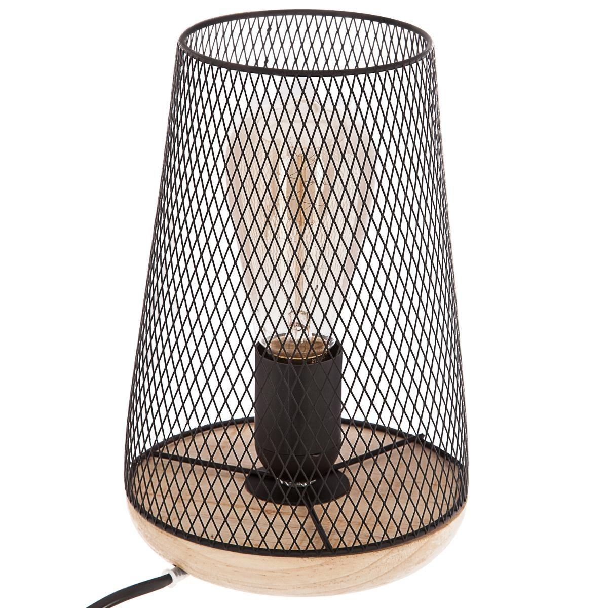 Jour Bois Noir Et Lampe Veo Grille Abat En Shop H23cm Métal IbfvyY76g
