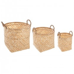 Lot de 3 paniers en bambou - Naturel