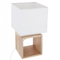 Lampe carrée en bois H32cm POJO - Blanc et beige