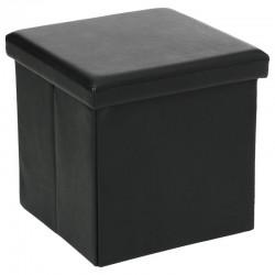 Pouf pliable carré en simili-cuir - Noir