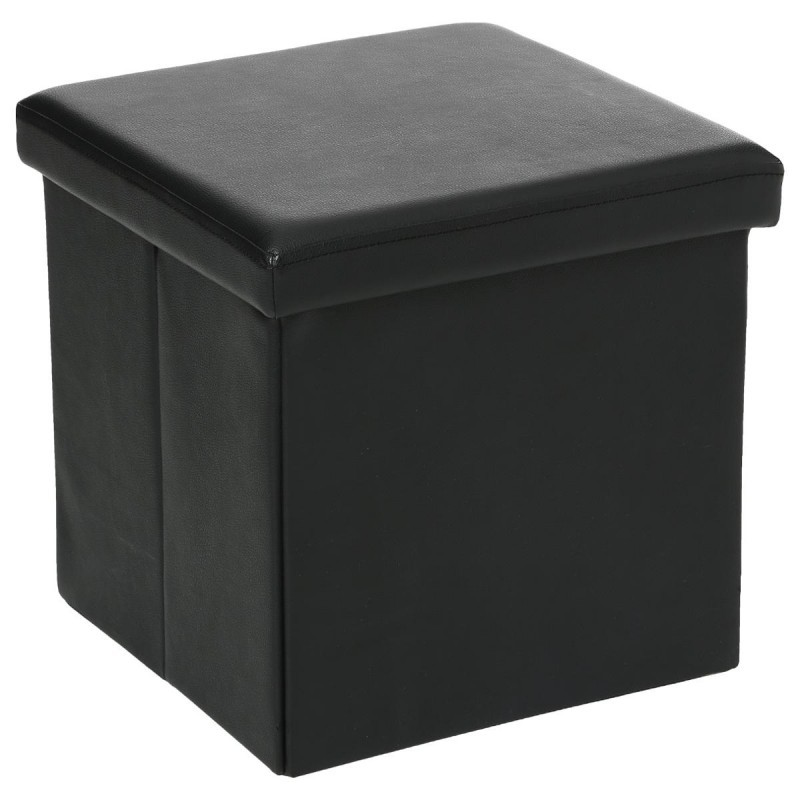 pouf pliable carr en simili cuir noir veo shop. Black Bedroom Furniture Sets. Home Design Ideas