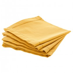Lot de 4 serviettes de table 40X40cm CHAMBRAY - Ocre
