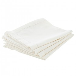 Lot de 4 serviettes de table 40X40cm CHAMBRAY - Blanc