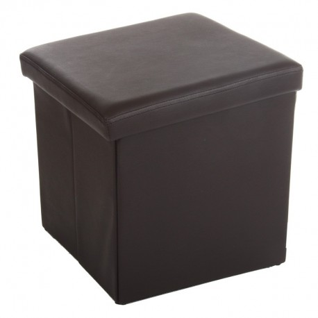 Pouf pliable carré en simili-cuir - Marron