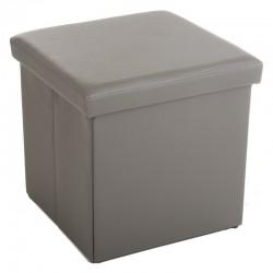 Pouf pliable carré en simili-cuir - Gris