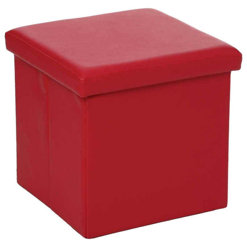 pouf pliable carr en simili cuir rouge veo shop. Black Bedroom Furniture Sets. Home Design Ideas