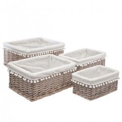 Lot de 4 paniers rectangles en osier FOLKDREAM