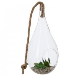 Plante artificielle dans un verre en goutte H32cm