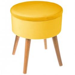 Tabouret coffre en velours D36cm TESS - Jaune moutarde