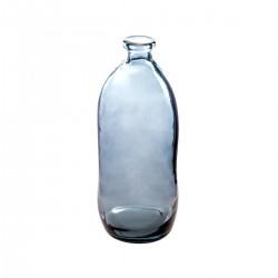 Vase bouteille en verre recyclé H51cm - Bleu
