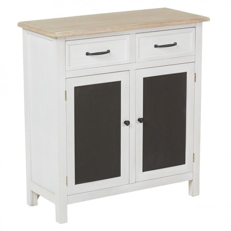 Buffet 2 tiroirs et 2 portes damian noir blanc veo shop - Buffet 2 portes blanc ...