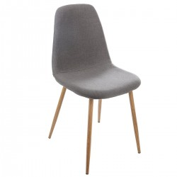 Chaise imitation chêne TAHO - Gris foncé