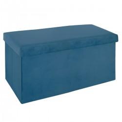 Pouf pliant double en velours TESS - Bleu foncé