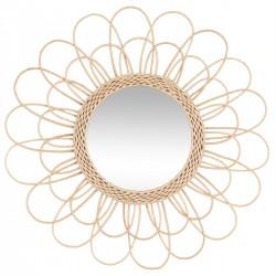 Miroir fleur en rotin D56, INTÉRIEUR NOMADE - Beige