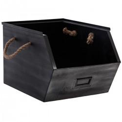 Casier de rangement en métal avec hanse en corde - Noir