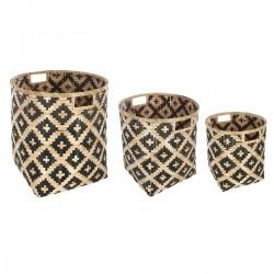 Lot de 3 paniers bicolores en bambou INTÉRIEUR NOMADE - Naturel et noir