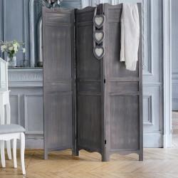 Paravent en bois romantique 170X120cm - Gris