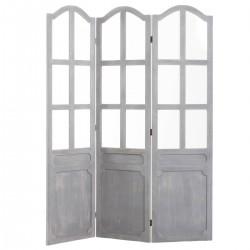 Paravent fenêtre en bois 170X135cm - Gris