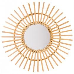 Miroir soleil en rotin D58cm - Beige