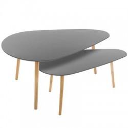 Lot de 2 tables à café MILEO - Gris