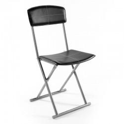 Chaise pliante en PVC - Noir