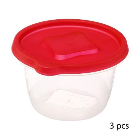 Lot de 3 boîtes rond 1L NEVER LOST - Rouge