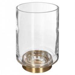Vase cylindre base en métal finition laiton H18,5cm