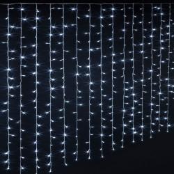 Rideaux lumineux 600 LED blanc froid 3m - Fil transparent