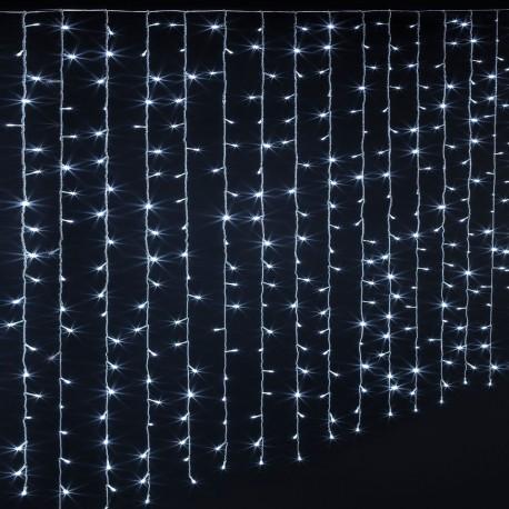 Rideaux lumineux 300 LED blanc froid 1,5m - Fil transparent