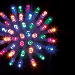 Guirlande 100 LED multicolore de 10m - Fil transparent