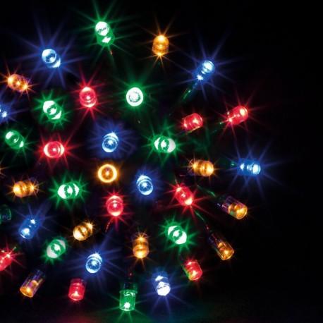 Guirlande 100 LED multicolore de 10m - Fil vert
