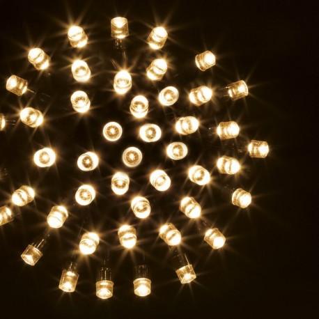 Guirlande 100 LED blanc chaud de 10m - Fil vert